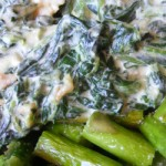 Recipe: 80% Fat Lunch – Creamed Spinach and Chicken on a Bed of Asparagus